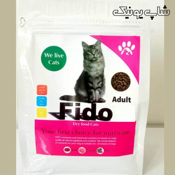 بسته بندی غذای ایرانی گربه با طعم مرغ و گوشت وعصاره ماهی برند فیدو