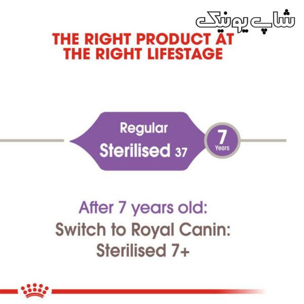رده سنی غذای خشک گربه رویال کنین استرلایز مدل Regular Sterilised